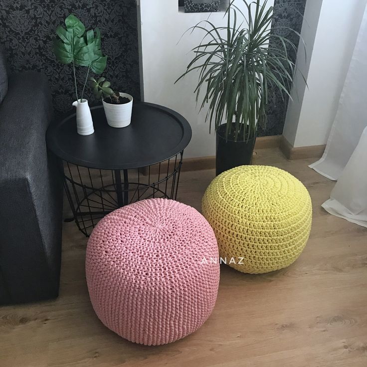 Knitted and crochet t-shirt yarn poufs, rose and yellow, scandinavian home