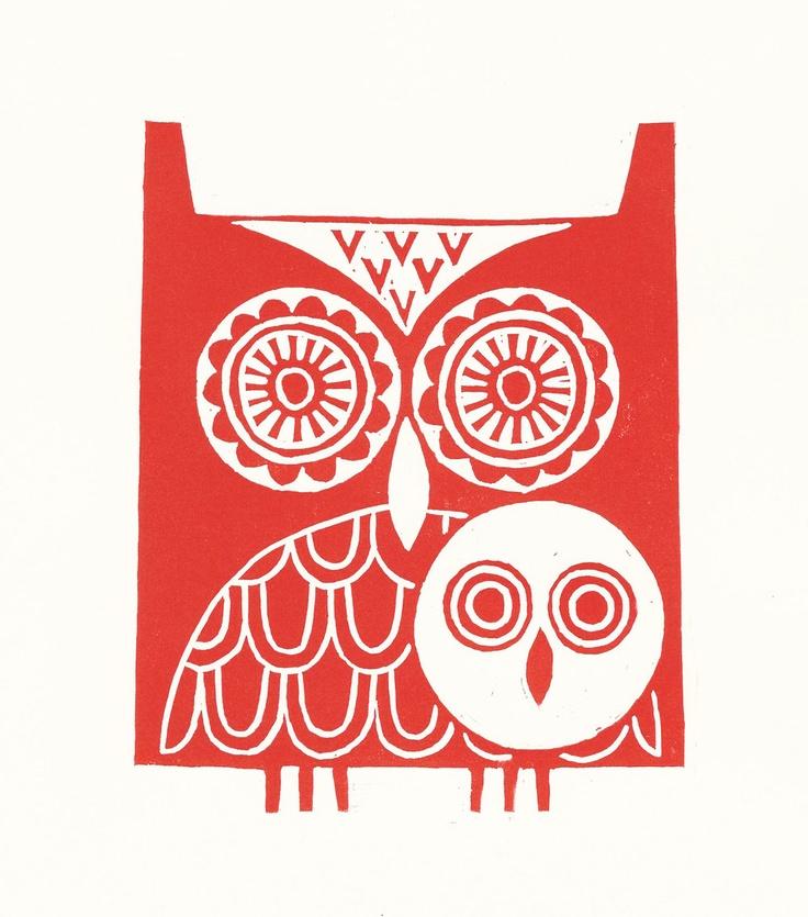 Red owls lino print