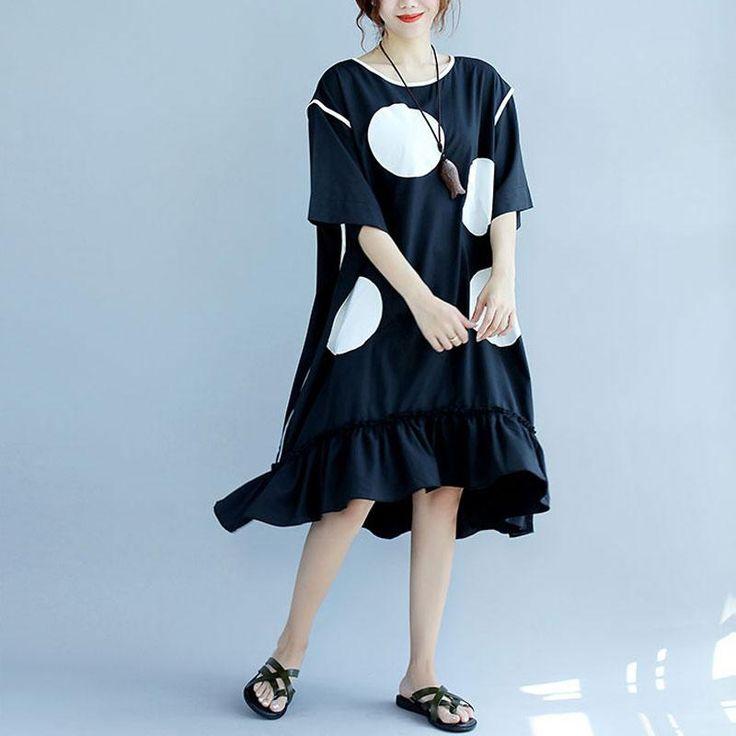 Stylish White Applique Dot Round Neck Short Sleeve Women Black Dress