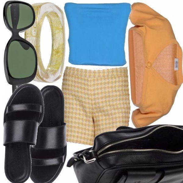 Delizioso outfit estivo pensato per le più giovani e in particolare per chi abbia voglia di sbizzarrirsi con colori decisi e un tocco vintage, con uno stile unico.