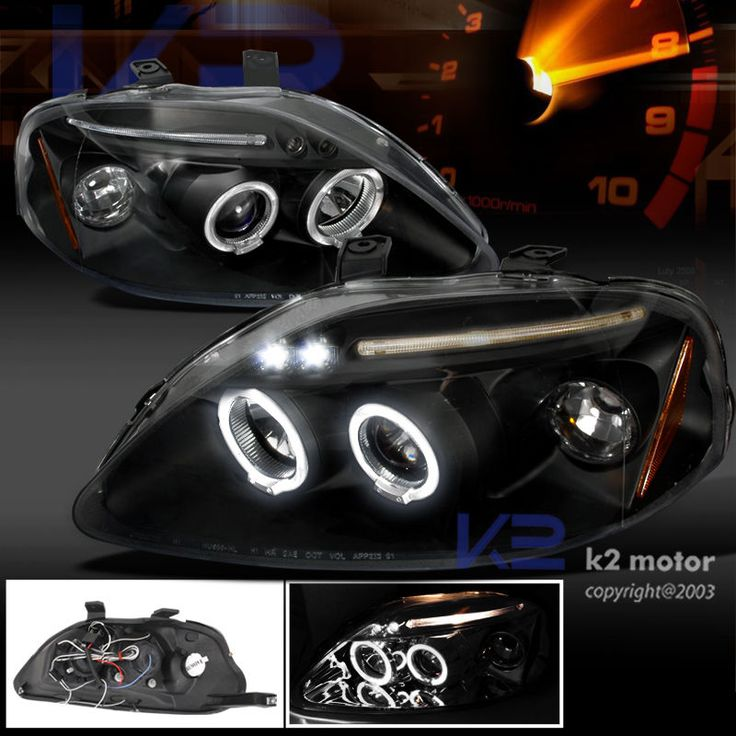 For 1999-2000 Honda Civic LED Halo Projector Headlights Black