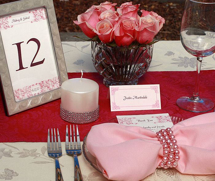 Aubrey's design is perfect for your invitations, table numbers, place cards and menus.  Carry your theme throughout the entire wedding.