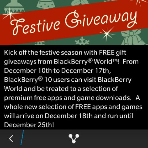 BlackBerry kicks off the holidays with a Festive Giveaway promotion in BlackBerry World - http://blackberryempire.com/blackberry-kicks-off-the-holidays-with-a-festive-giveaway-promotion-in-blackberry-world/ #BlackBerry #Smartphones #Tech