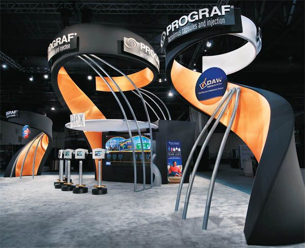 Fabric Exhibition Stand Ideas : Cool kiosk design with curves and exposed metal tradeshow