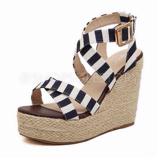 Striped platform summer wedge sandals