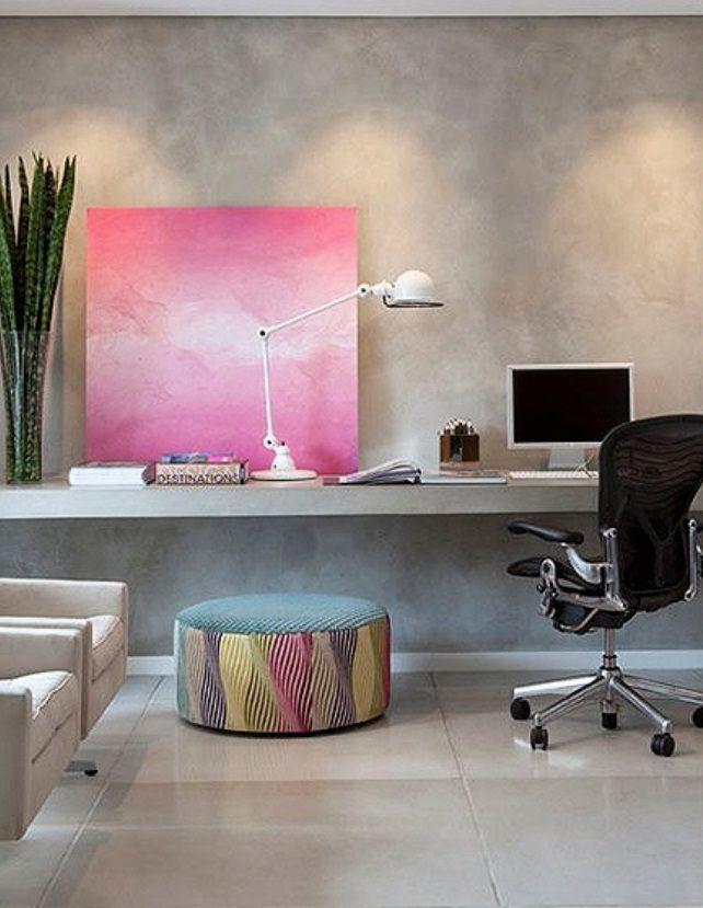escritorio em casa - cimento queimado