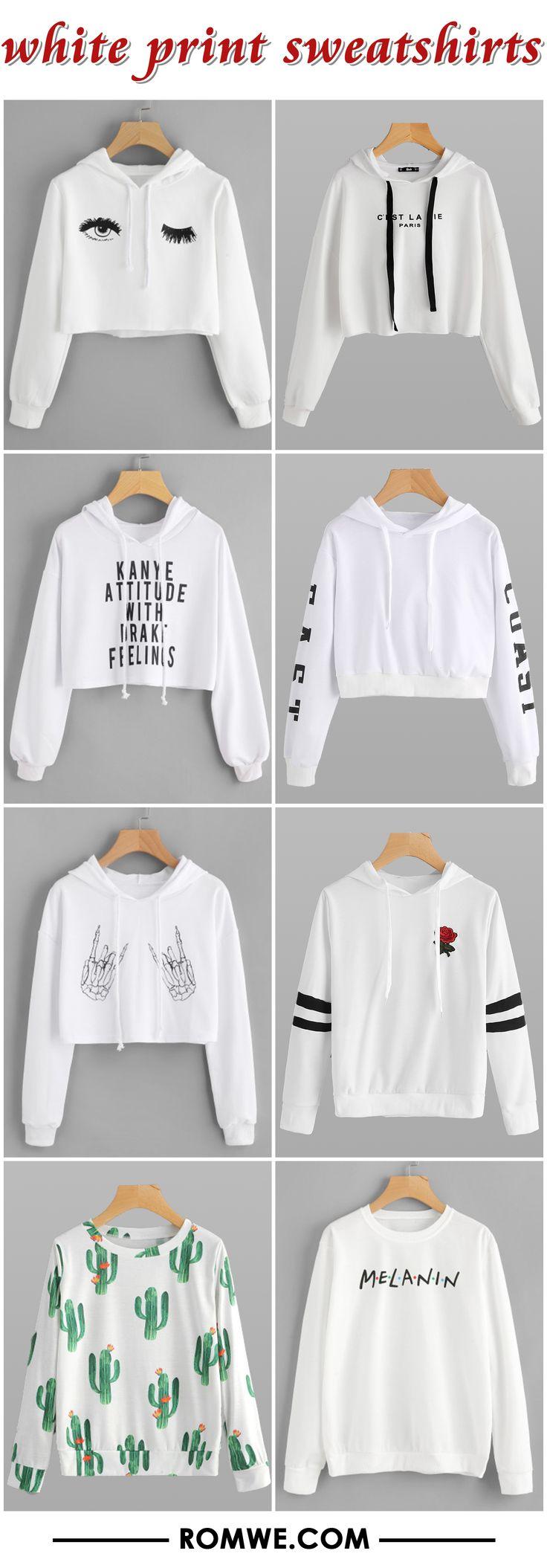 white print sweatshirts from romwe.com