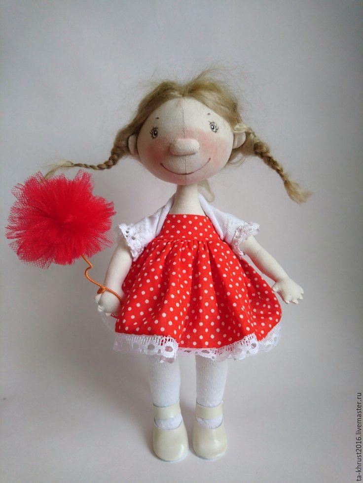 Купить Интерьерная кукла Анютка - ярко-красный, куколка, кукла ручной работы, кукла интерьерная