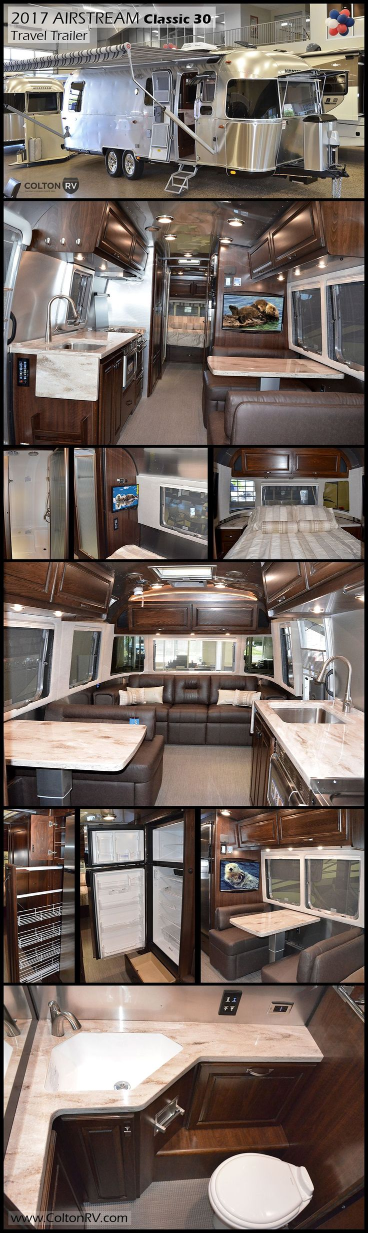 This Airstream Classic 30 travel trailer is designed for long-term adventurers or full-time living. Inside you'll find abundant storage, elegant design, private sleeping quarters and spacious living areas. The central kitchen has everything you need to refuel from the fun!  With convertible furnishings, you can sleep up to 5 campers comfortably.
