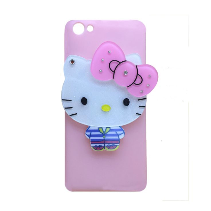 2016 Fashion hot cartoon glitter diamond bow pink teedy bear kitty cat rotate girl makeup glass mirror love hole case For Iphone