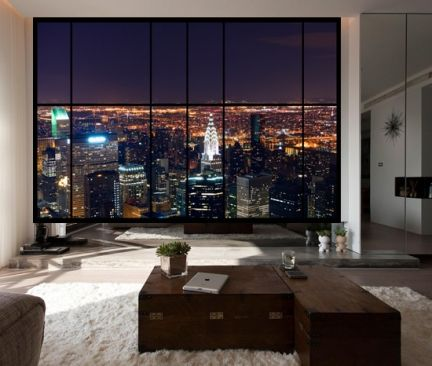 Apartment Window-City scene - AWM12 - Apartment window wall view of stunning New York city at night. Self adhesive photo wallpaper