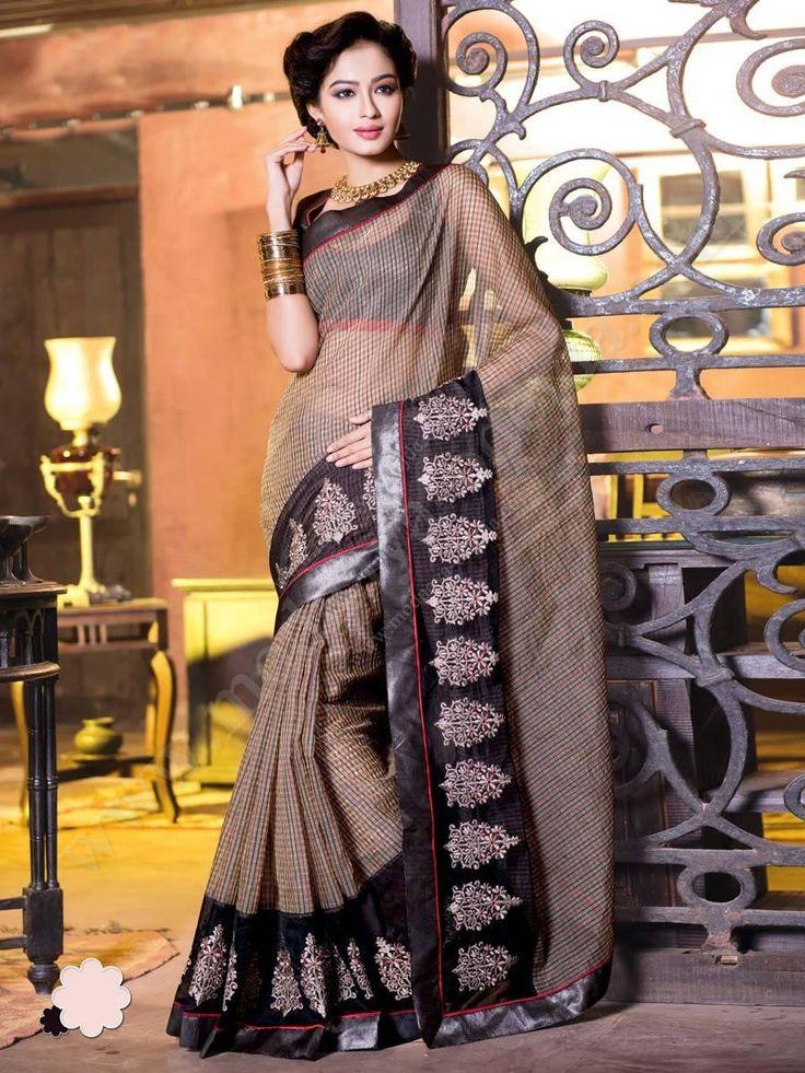 Бежевое с чёрным летнее индийское сари из хлопка, украшенное вышивкой скрученной шёлковой нитью с бусинками