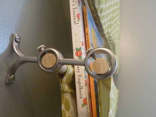 Nursery book slings | Domestic Adventure. Thinking could use for a curtain pole maybe?