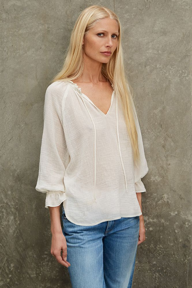 SUNFLOWER COTTON GAUZE PEASANT TOP, Kirsty Hume x Velvet by Graham and Spencer.