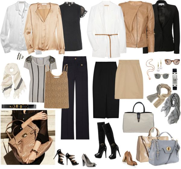 """White-Beige-Black-Grey Business Capsule"" by dejavu on Polyvore"