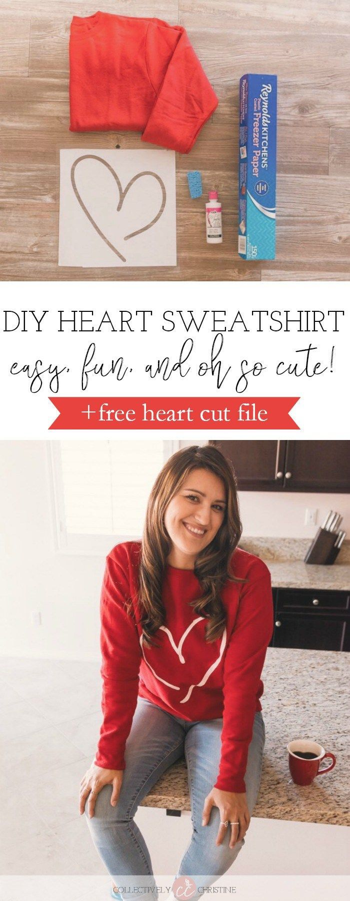 This adorable DIY heart sweatshirt is easy and fun to make. Don't forget to grab the free Silhouette cut file too. Happy Valentine's Day!