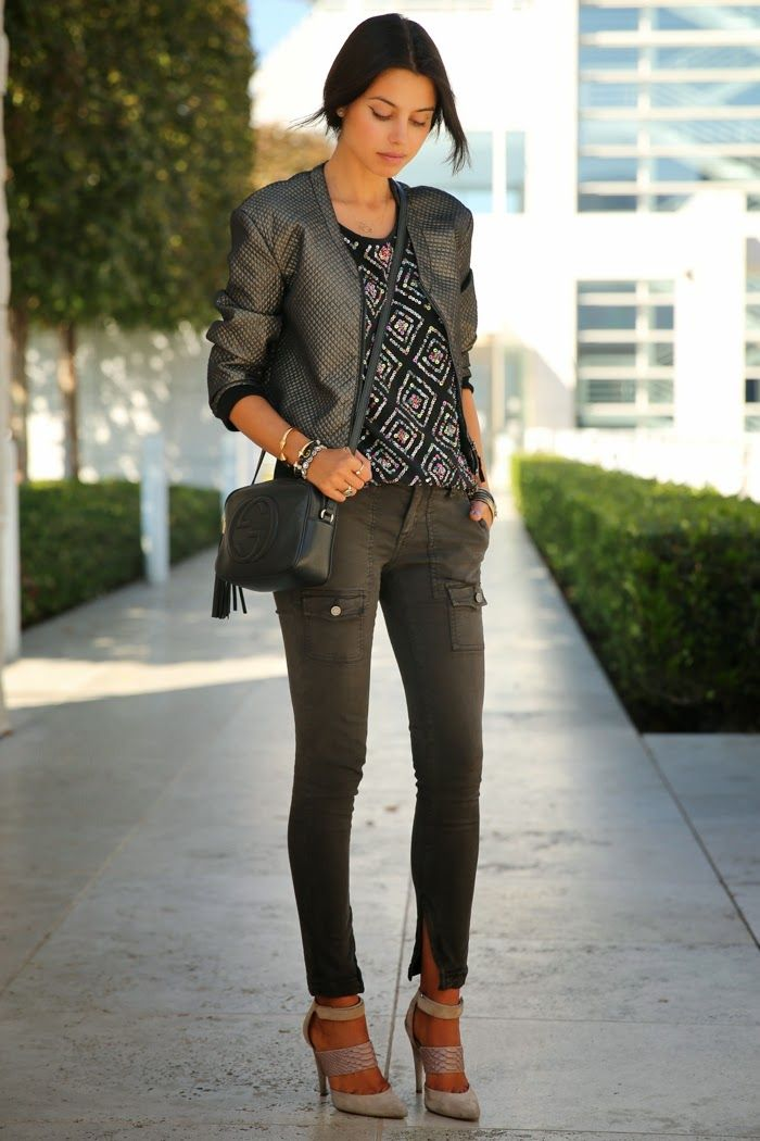 cargo pants with chic blazer and printed top