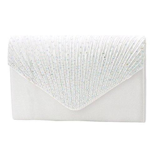 Oferta: 10.38€. Comprar Ofertas de Bolso Bolsa de Hombro Hanbag Embrague Novia Fiesta Banquete de Noche Elegante Diamante de Imitación Para Mujeres - Blanco barato. ¡Mira las ofertas!