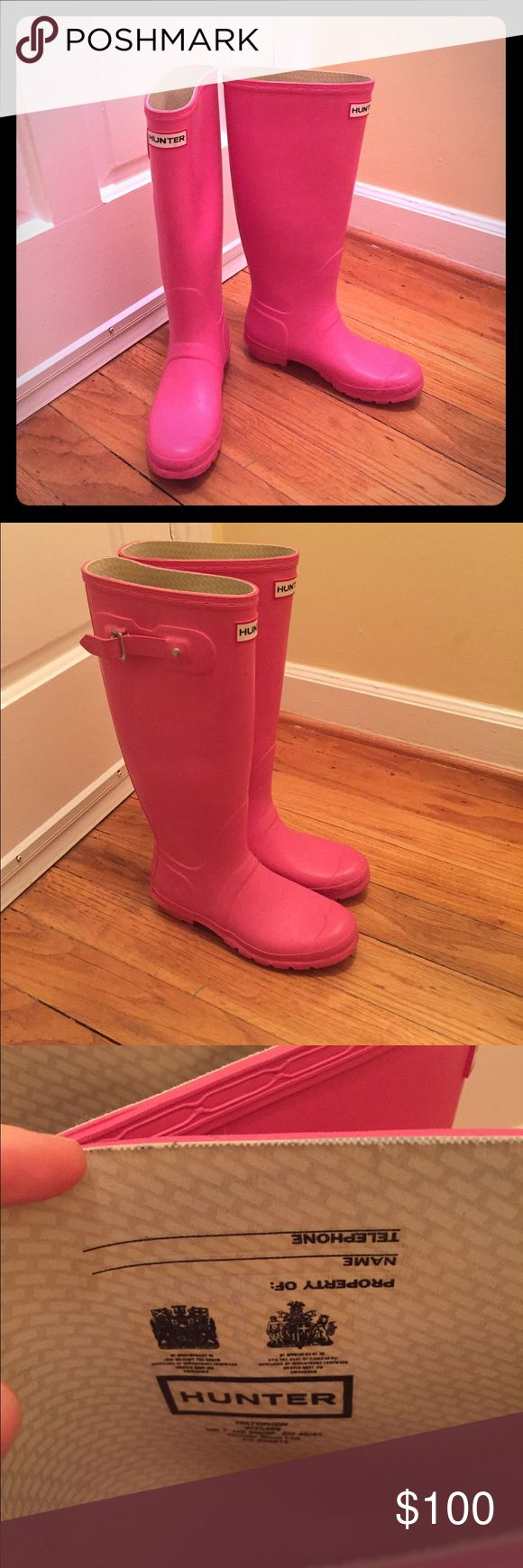 Tall Hunter Rain Boots- Size 9 Tall pink women's Hunter Rain Boots. Only worn several times- great condition. Hunter Shoes Winter & Rain Boots