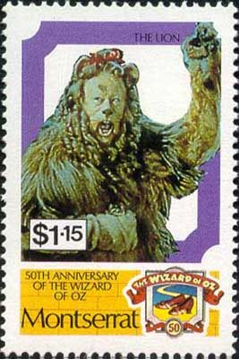 Почтовой службой Монтсеррата в 1989 году, серии «50-летие фильма «Волшебник страны Оз»– Трусливый Лев, роль которого исполнил Берт Лар.