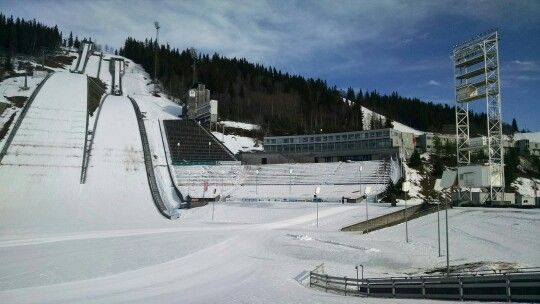 Ski jumps, and school with lodging on the right. Olympia Parken. Lillehammer Norway.