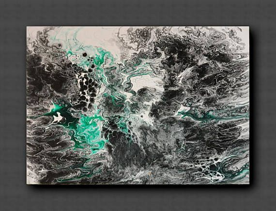 Acrylic pour art Acrylic Pour Painting Emeralds Small