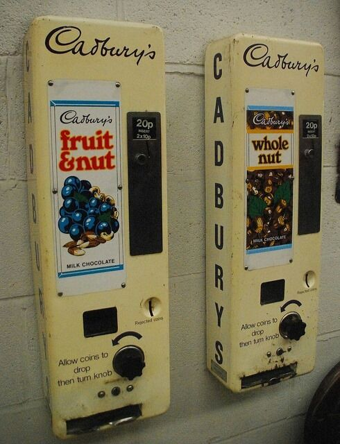 Old chocolate vending machines. 20p a bar! We had a KitKat one at school.