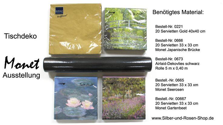 Das Material für die Tischdeko gibt es in der Shop-Kategorie Themendinner/Tischdeko-zur-Monet-Ausstellung.
