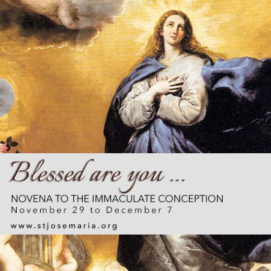"""Novena to the Immaculate Conception   Day One:""""Blessed are the poor in spirit, for theirs is the kingdom of heaven."""" (Mt 5:3)  Mary, Mother of Christ, teach me how to be poor in spirit, show me what is keeping my heart attached to the ties that separate me from your Son.    Read more here  →  http://mailchi.mp/stjosemaria.org/day-one-novena-to-the-immaculate-conception-2017  #Catholic #Pray #ImmaculateConception #Novena #prayer"""