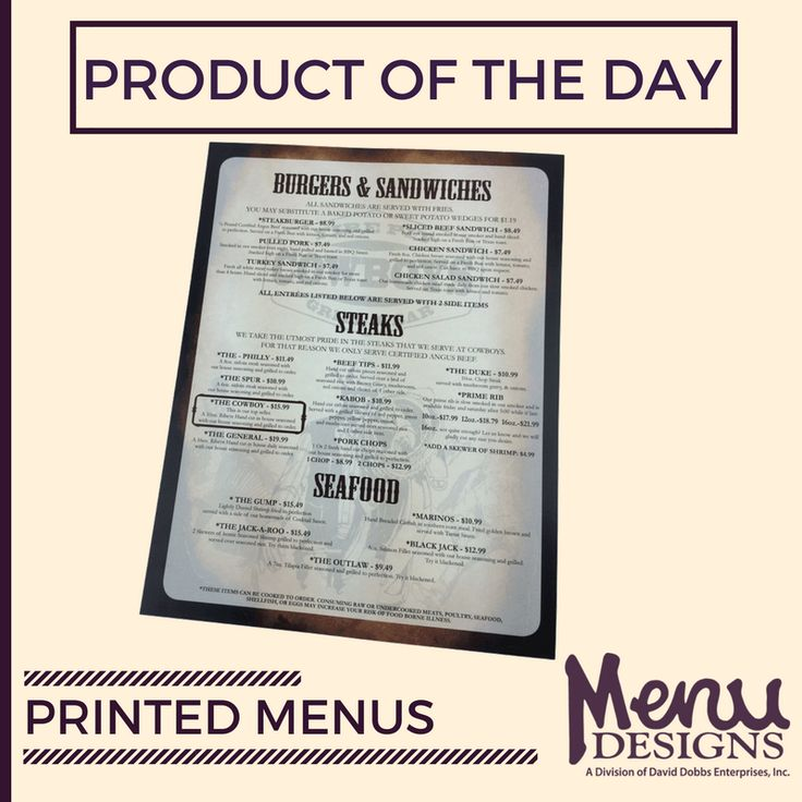 Choose from an array of our many pre-designed menu templates or contact us to learn more about custom printed menu designs. Printed menus make life easy. There easy on the eye, simple & affordable. #menudesigns #print #menu #custom #designs #templates #restaurant #food #drink #simple #affordable #productoftheday