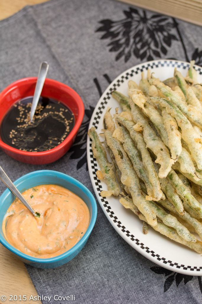 Tempura Green Beans with Sriracha Aioli + Soy Ginger Dipping Sauces