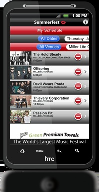 """Summerfest, the World's Largest Music Festival, has launched its FREE App! Scroll through the entire line-up, connect with Summerfest artists' websites and music, build your personalized """"must see"""" festival schedule, see who's """"on stage right now"""", navigate the festival on our map or just get directions."""