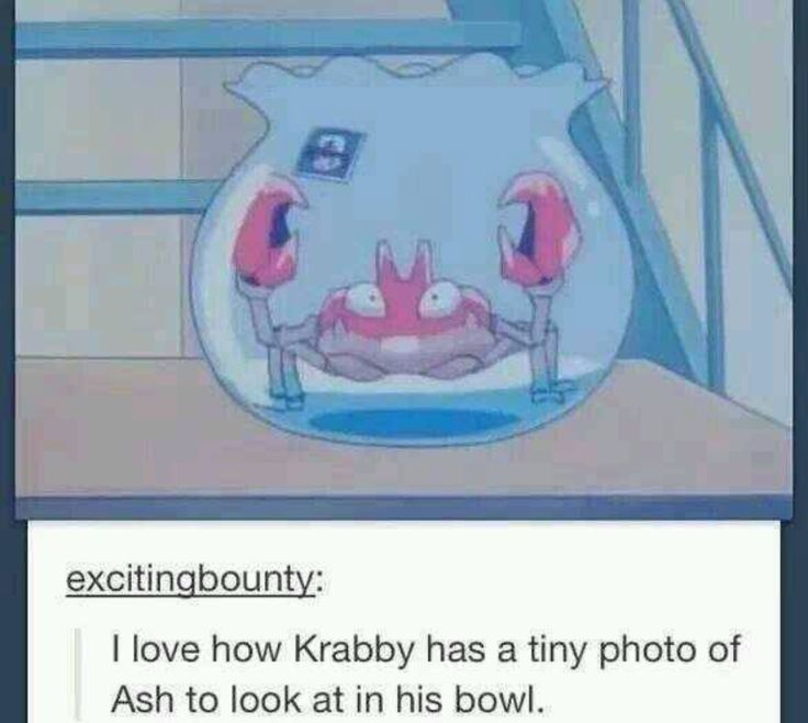 let's all just appreciate this here how krabby cares this much about Ash
