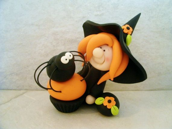 Halloween Witch Spider Cupcake Figurine by countrycupboardclay