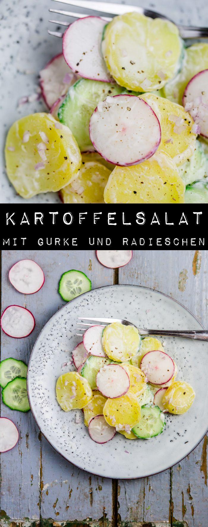 Kartoffelsalat mit Gurke und Radieschen - www.kuechenchaotin.de