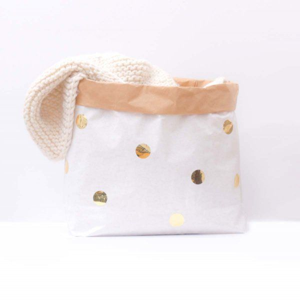 Small Paper Bag DIY Dots gold
