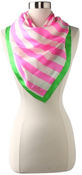 kate spade pink and green stripe silk scarf alpha kappa