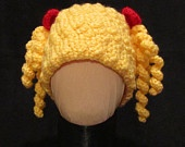 The Baby Doll Hat - Yellow Crochet Beanie Hat with Pigtail Curls and Red Bows - newborn - infant