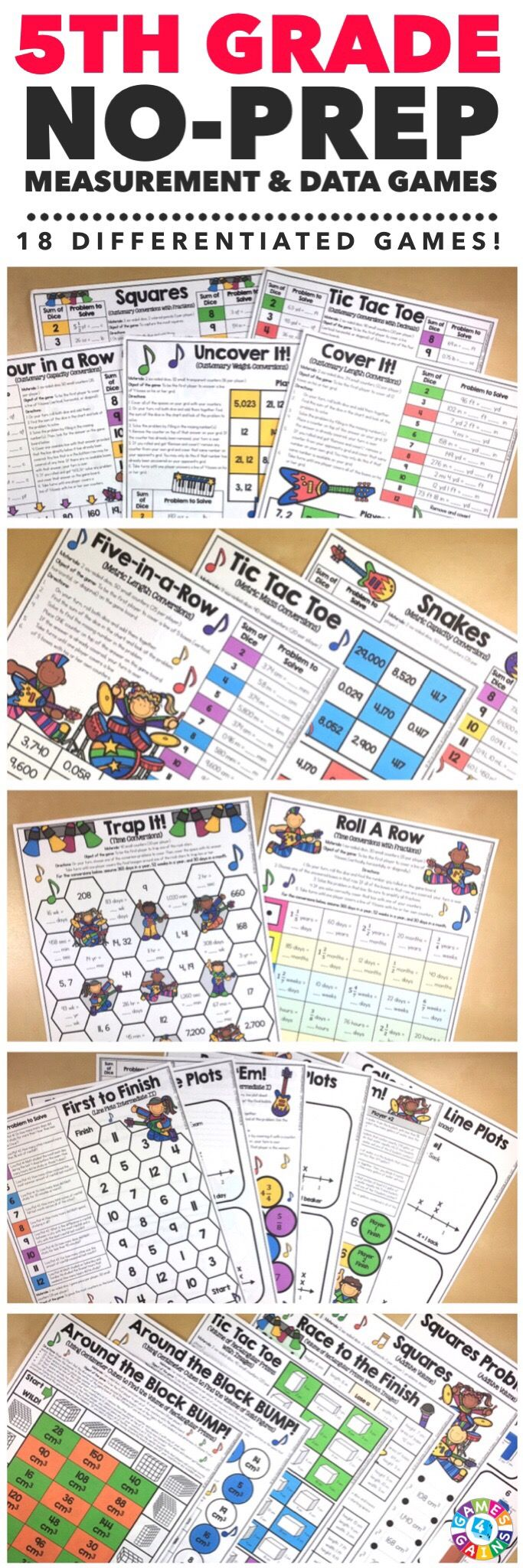 """""""Kids are LOVING these games during rotation time to reinforce standards."""" This 5th Grade Measurement & Data Games Pack includes 18 differentiated games for practicing customary measurement conversions, metric measurement conversions, time conversions, line plots, volume, and additive volume.  These games support the 5th grade CCSS measurement & data standards!"""