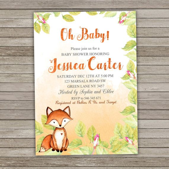 Fox Baby Shower Invitation Woodland by RainbowSweetStudio on Etsy