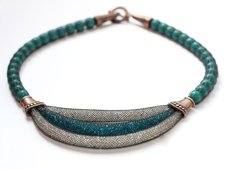 Turquoise short necklace Mesh Tube Necklace Seed beads necklace Chunky necklace…