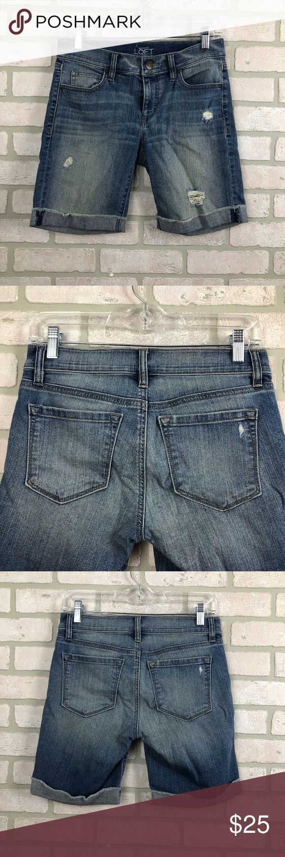 Loft Modern Long Distressed Modest Shorts Größe 2 Ann Taylor Loft Modern Long …
