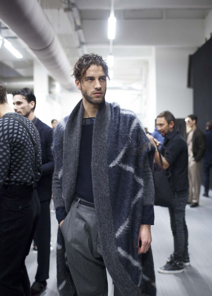 backstage at the Giorgio Armani Men's Fall Winter 2016 / 2017 fashion show