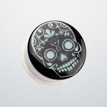Glow in the Dark Sugar Skull Single Flared Ear Gauge Plug If I ever gauged my ears I'd get these.