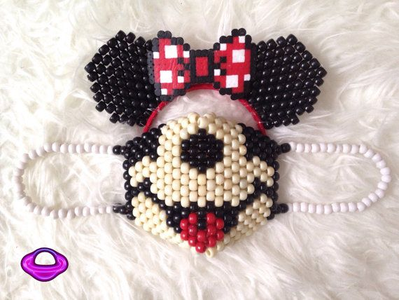 Bring some Disney Magic wherever you go with our Minnie Mouse Mask and Ears Set! Red, Black, and Tan Pony beads make up this Planet Plur Original Set.