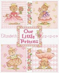 click here to view larger image of Baby Princess Birth Record  (counted cross stitch kit)