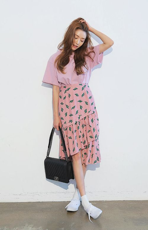 Cactus Print Tiered Skirt