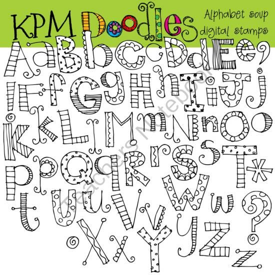 Alphabet Soup black line digital stamps from kpmdoodles on TeachersNotebook.com (55 pages) Hand lettering inspiration