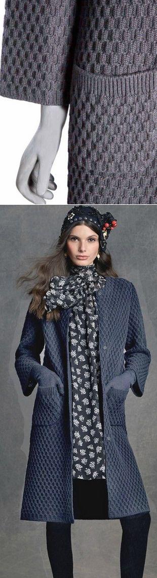 Узор для пальто спицами Простой, но очень красивый узор для вязания пальто спицами. Схема узора спицами