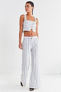 8a04fd06f7b665 Lucca Couture Emory Striped Button-Down Cropped Top